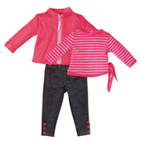 Cirque du Monde pink zip-up sweater, pink striped side-tie shirt, skinny jeans with ankle buttons fits all 18 inch dolls.