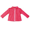 Cirque du Monde pink zip-up sweater with light pink zipper fits all 18 inch dolls.
