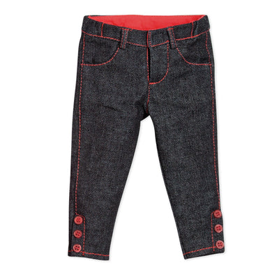 Cirque du Monde skinny jeans with pink accents and ankle buttons fits all 18 inch dolls.