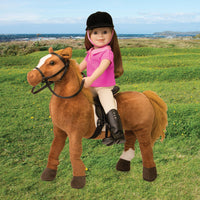 Champlain plush horse, saddle, reins and riding blanket fits all 18 inch dolls.