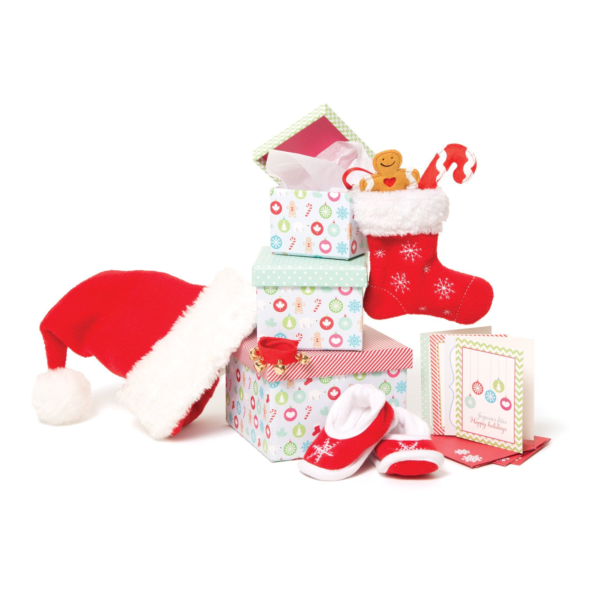 Christmas stocking, Santa hat, gift boxes, slippers and other Christmas accessories for 18 inch doll