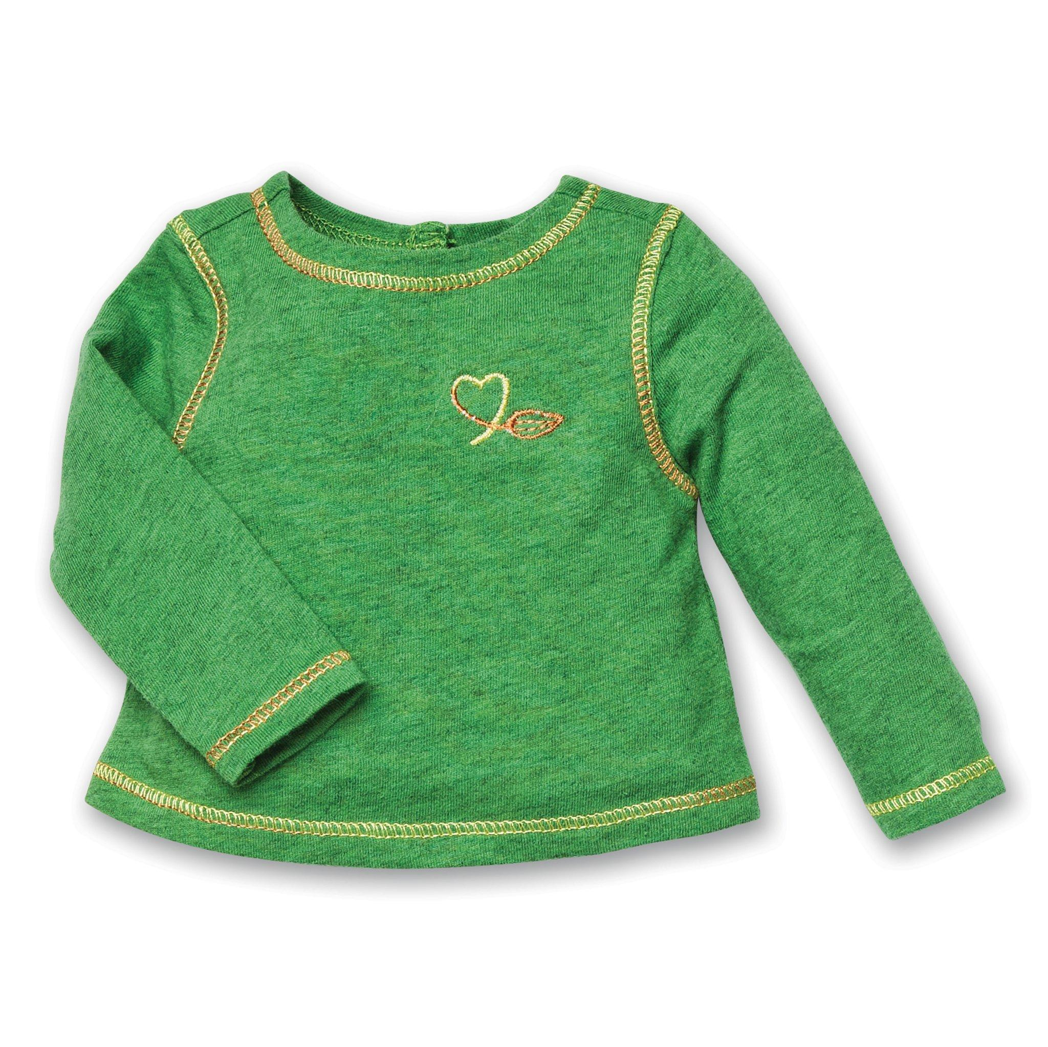 Green long-sleeved tee with heart print and colourful stitching fits all 18 inch dolls.