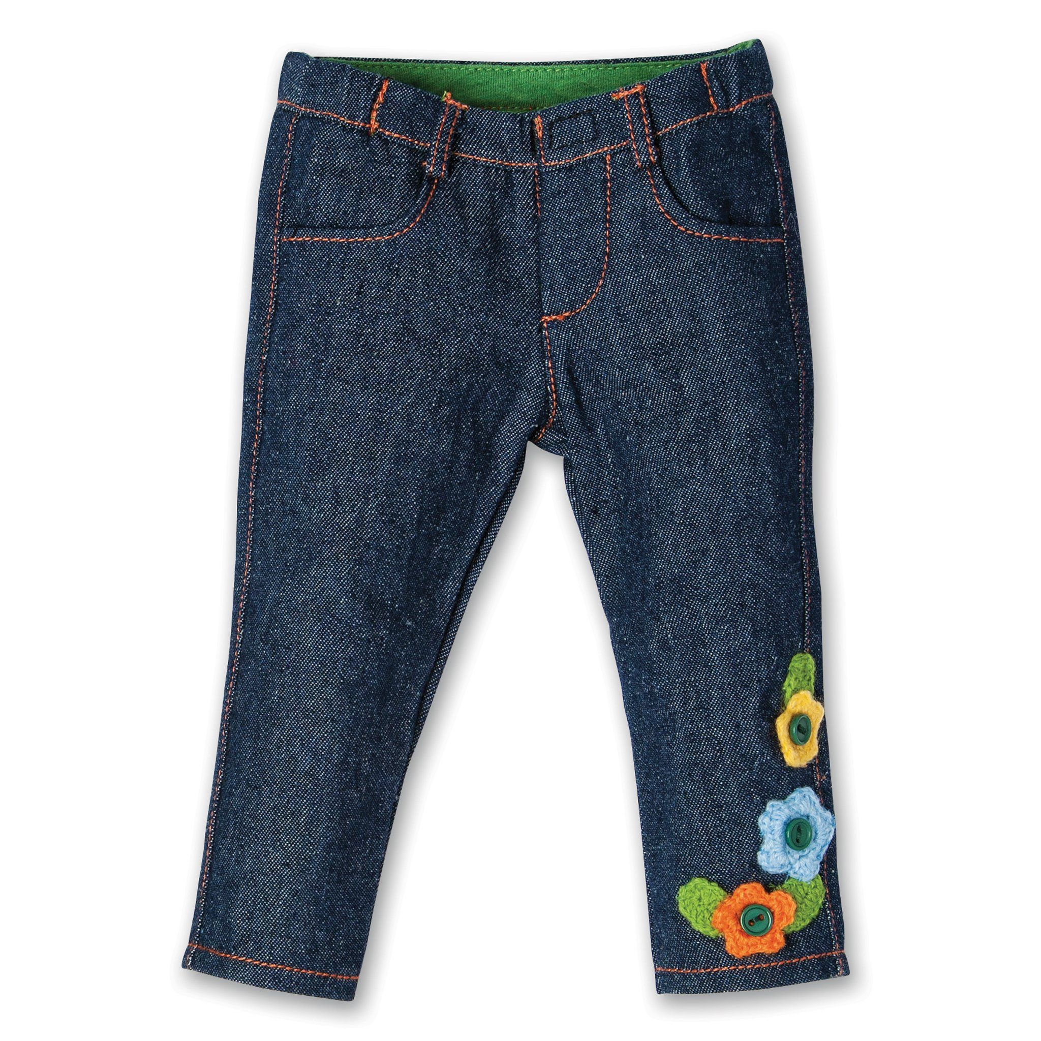 Jeans with crocheted flowers fits all 18 inch dolls.
