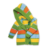 Multi-coloured, striped cardigan sweater with hood fits all 18 inch dolls.