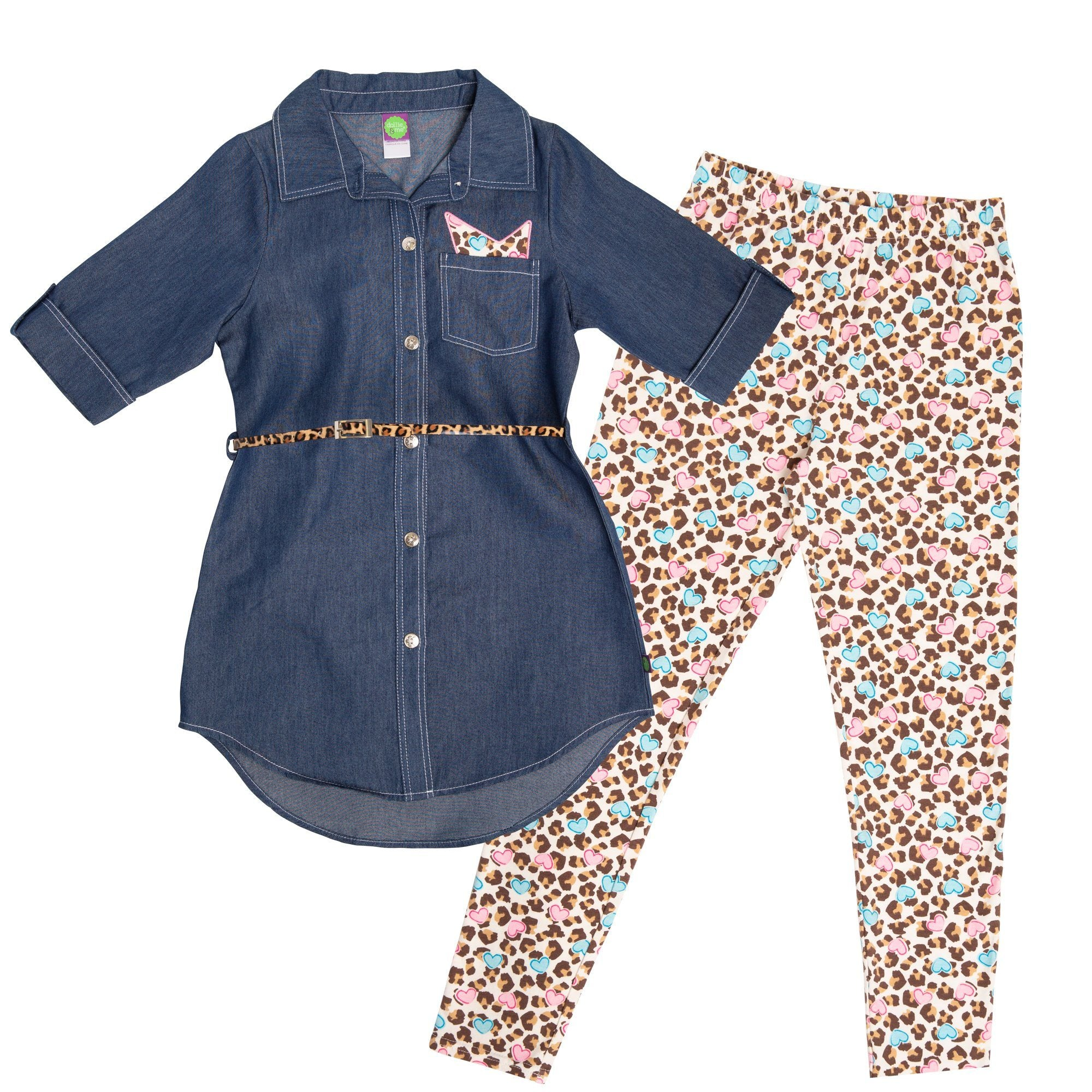 Denim tunic for Girls and matching set for dolls with leopard print belt, leopard print tights with heart pattern and leopard print belt.