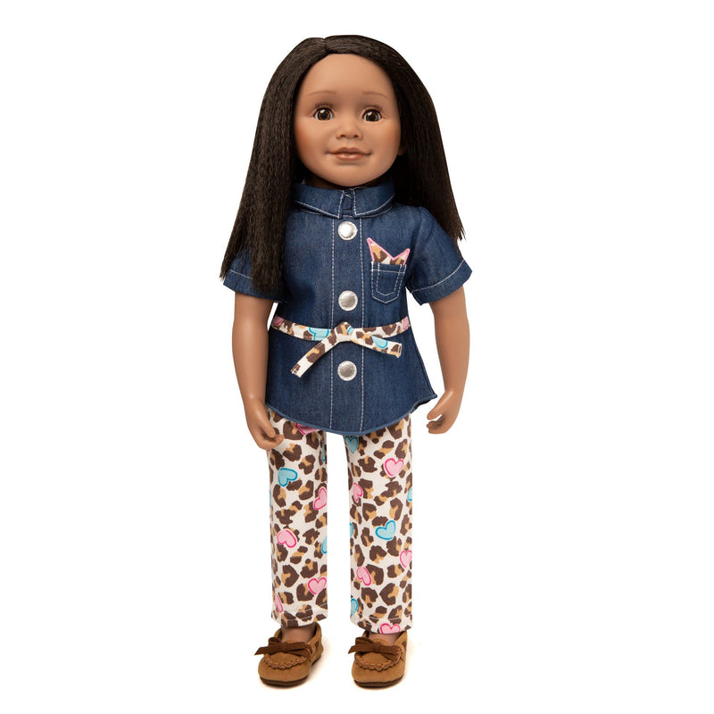 Matching doll and girl outfit includes denim tunic, belt and print leggings