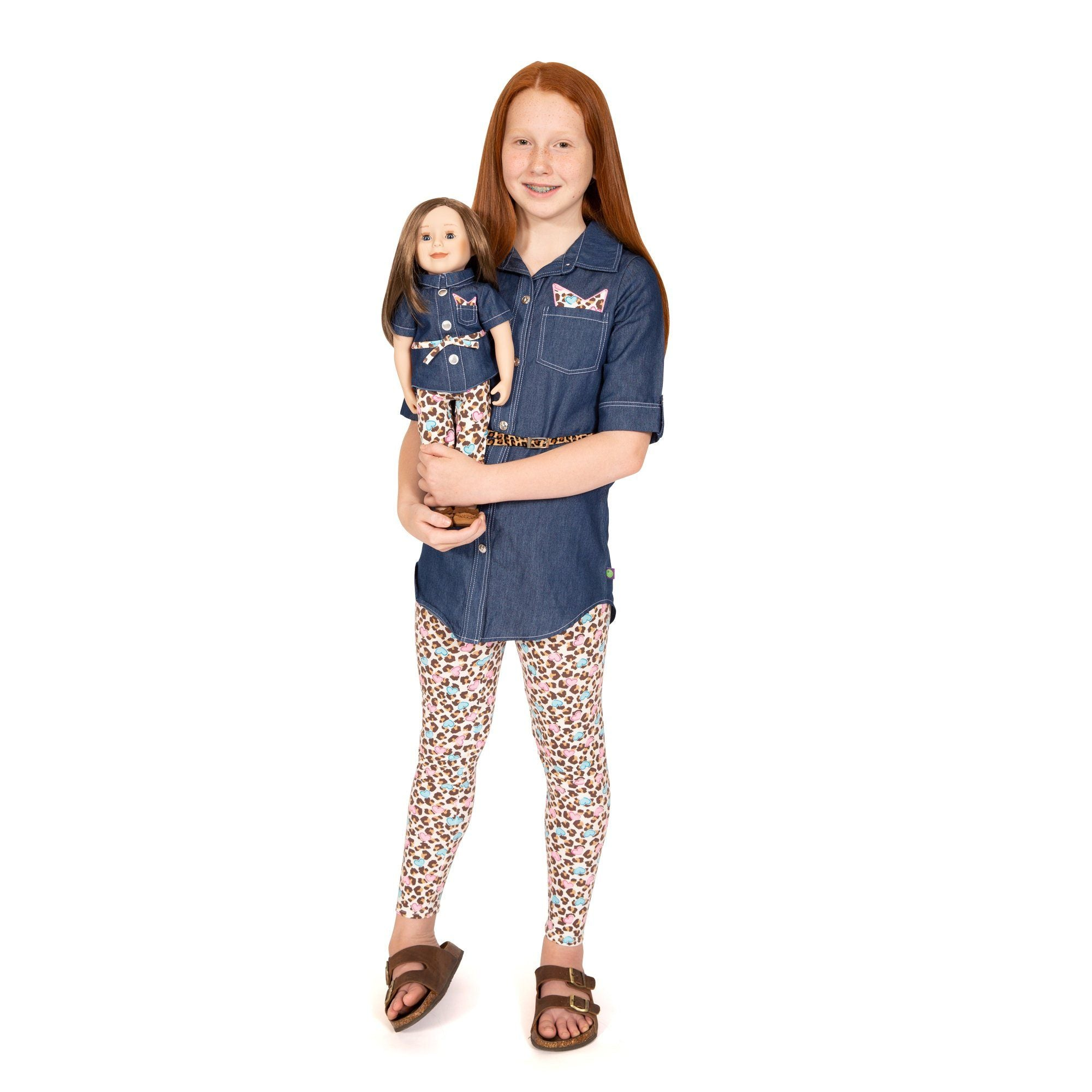 Matching Girl and Doll Set  Denim Top with Belt and Leggings 3282cf9c1