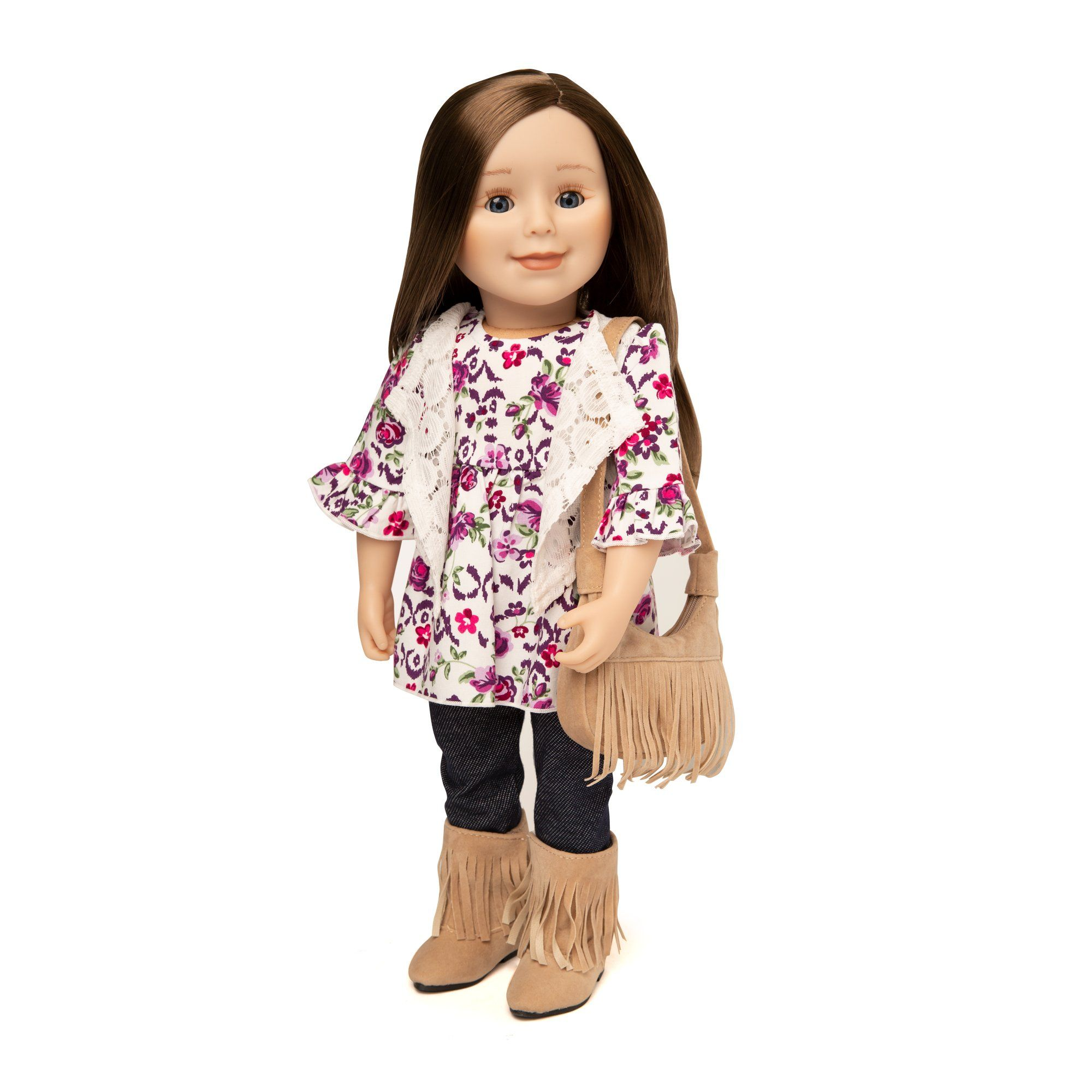 Girl and Doll Set: Lace Vest, Floral Dress and Jeggings