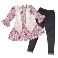 floral dress with white lace vest and jeggings for Girl and doll.