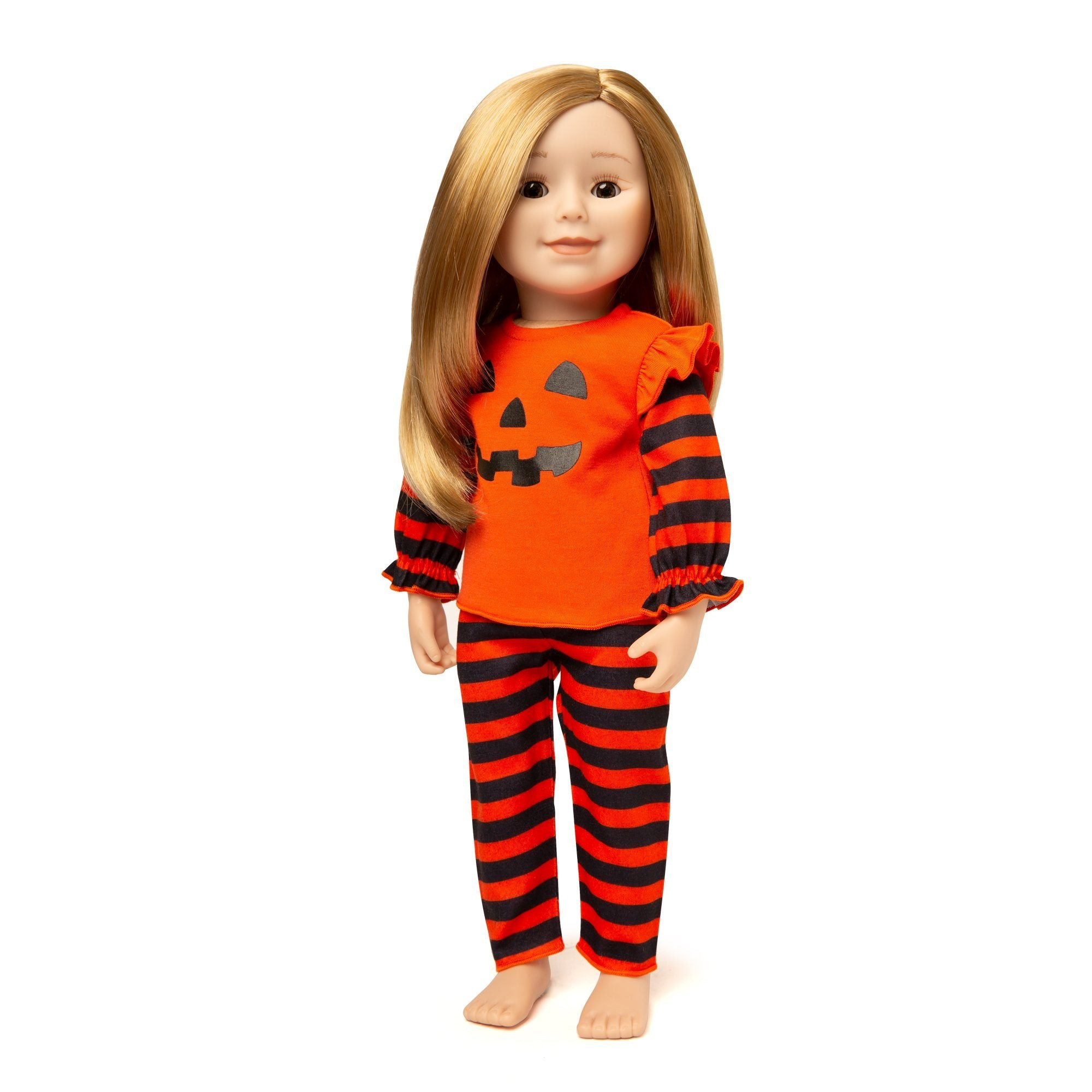 Girl and Doll Set: Pumpkin PJs