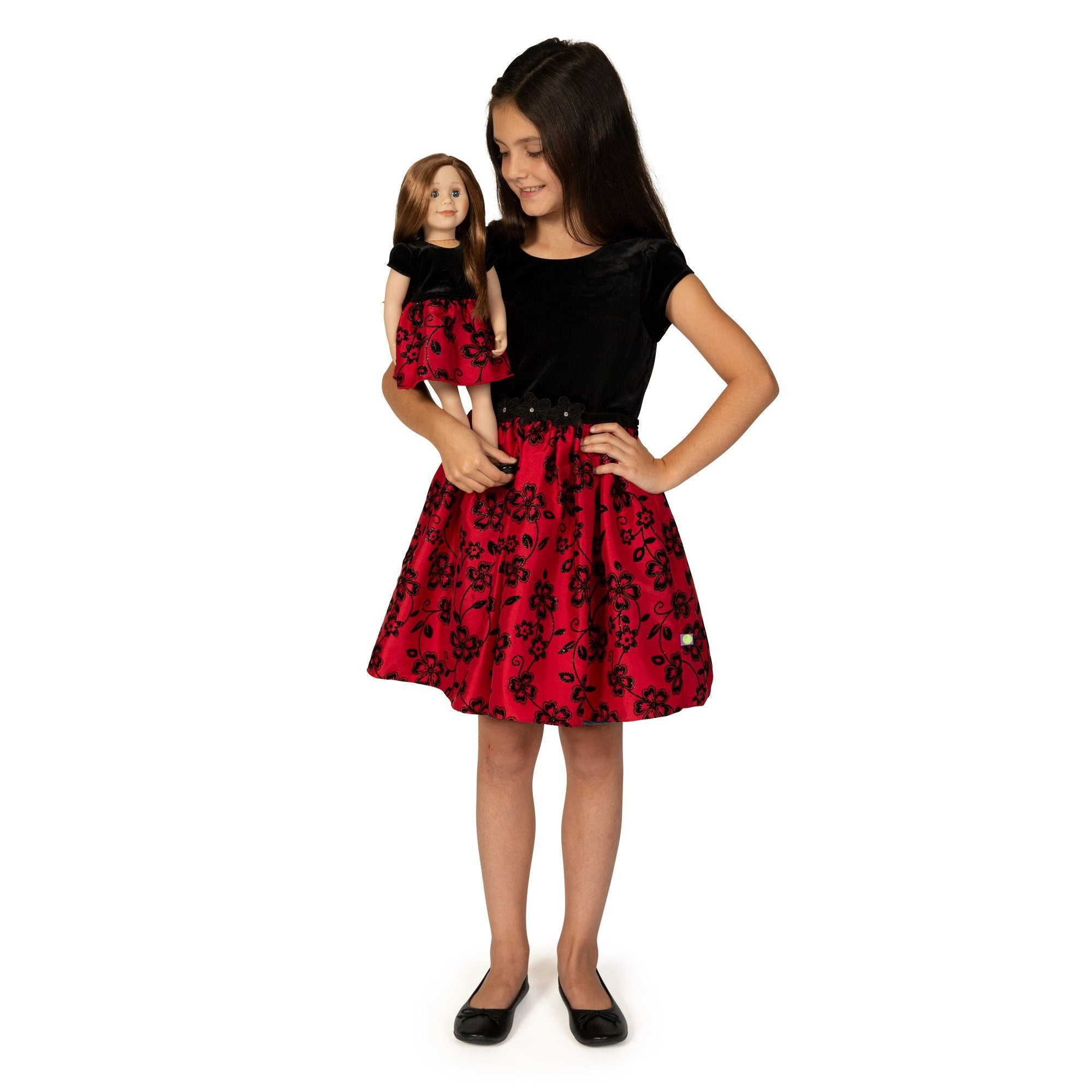 Girl and Doll Set: Red and Black Party Dress