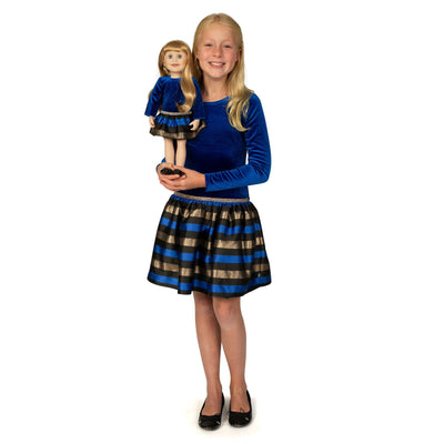 Girl and Doll Set: Blue, Gold and Black Party Dress