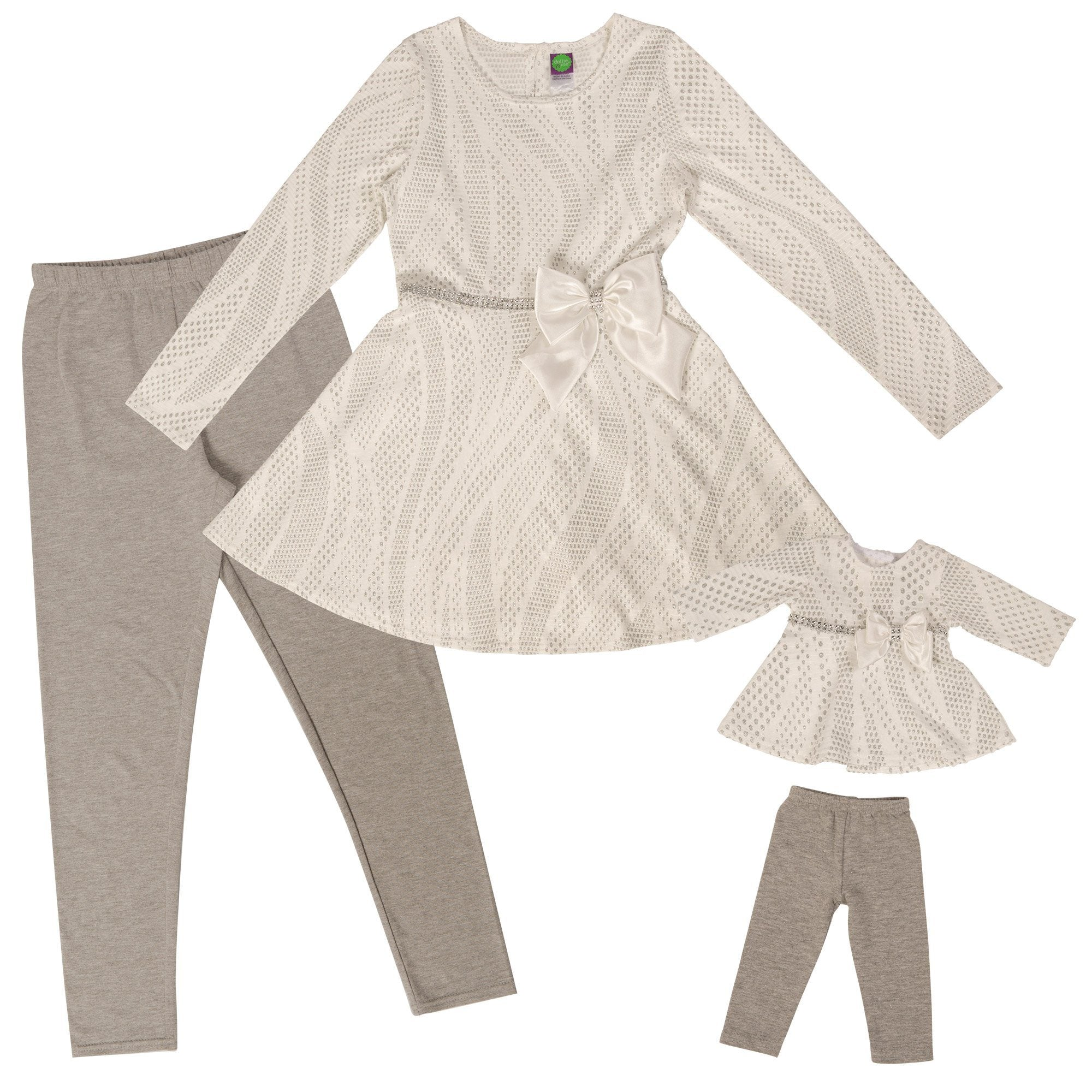 Girl and Doll Set: White and Silver Dress with Grey Leggings