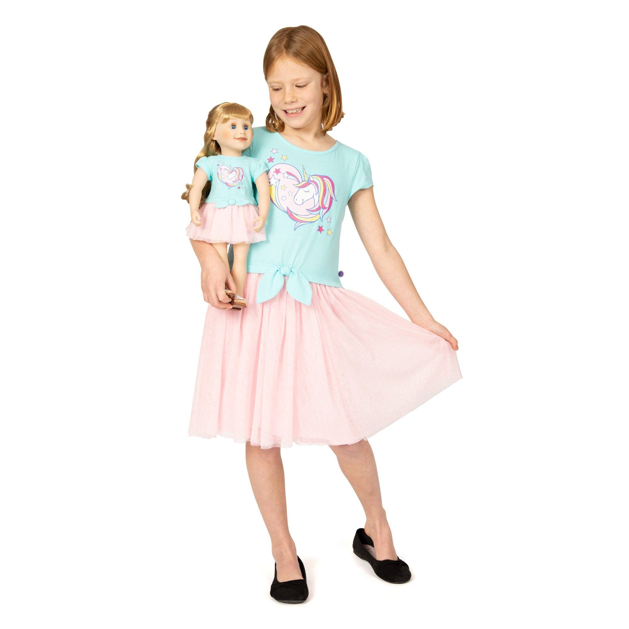 Girl and Doll Set: Unicorn Dress in Pink and Aqua