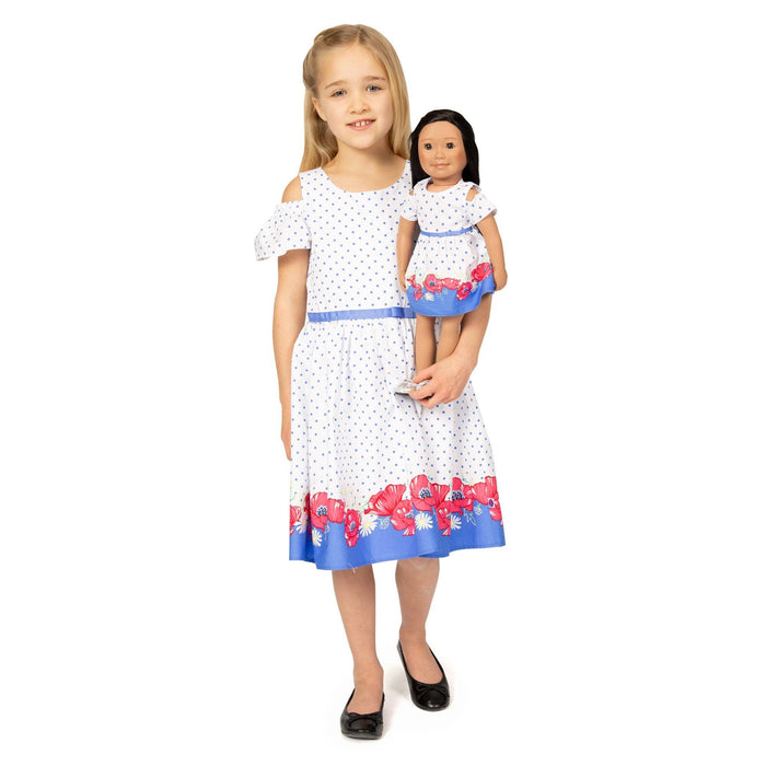 Girl and Doll Set: Polka Dot Border Print Dress