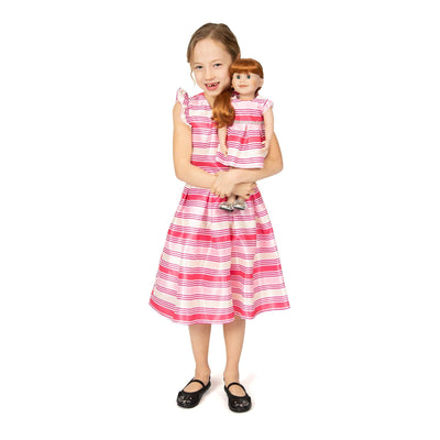 Girl and Doll Set: Pink Striped Dress