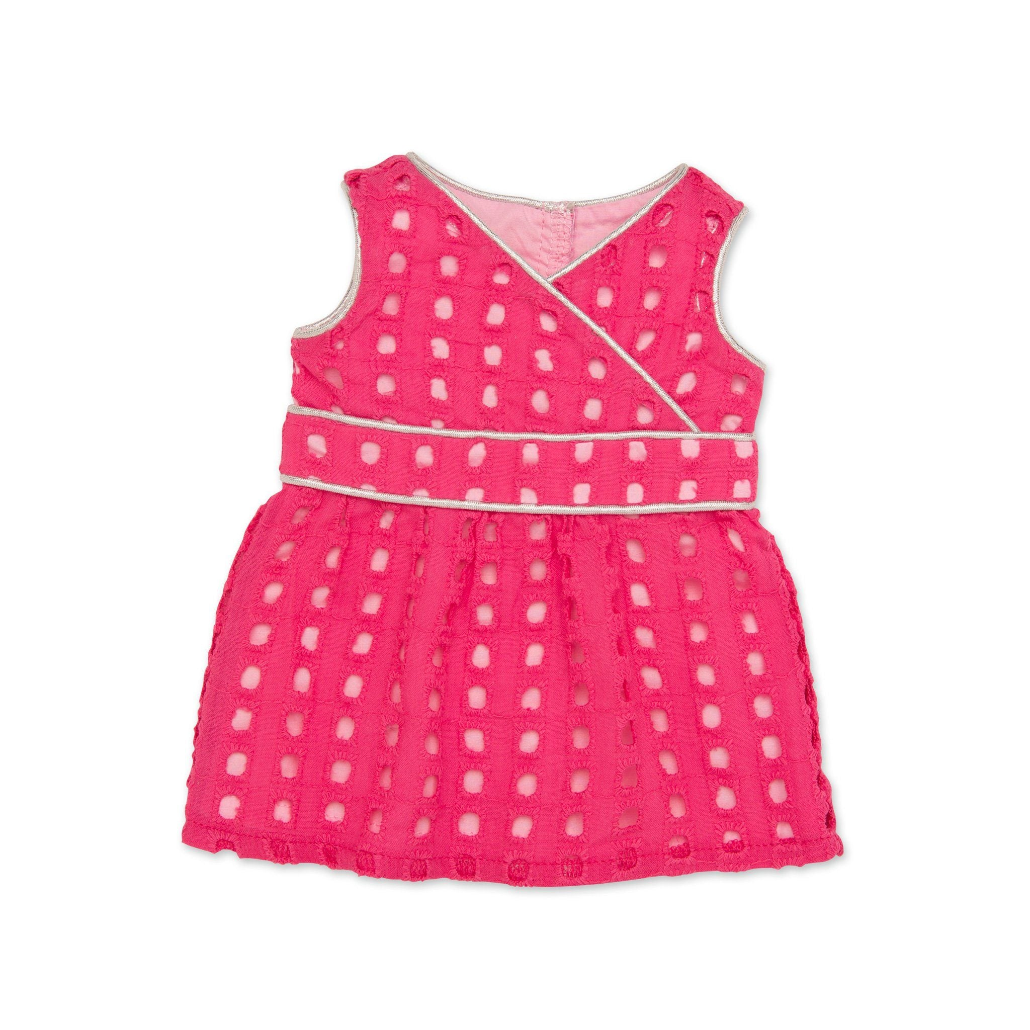 Pink eyelet dress with silver piping fits all 18 inch dolls.