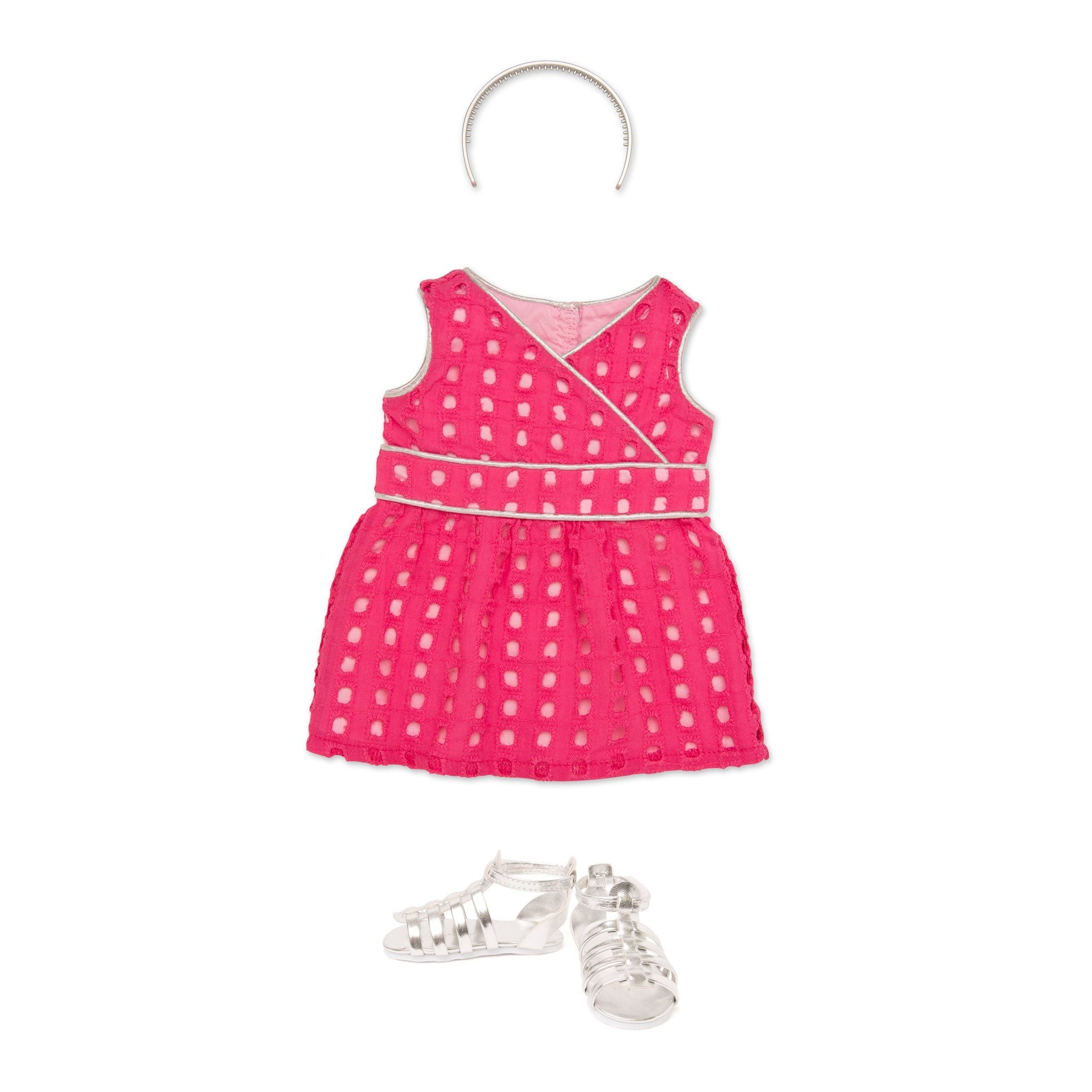 Pink eyelet dress with silver piping, silver headband and silver sandals fits all 18 inch dolls.