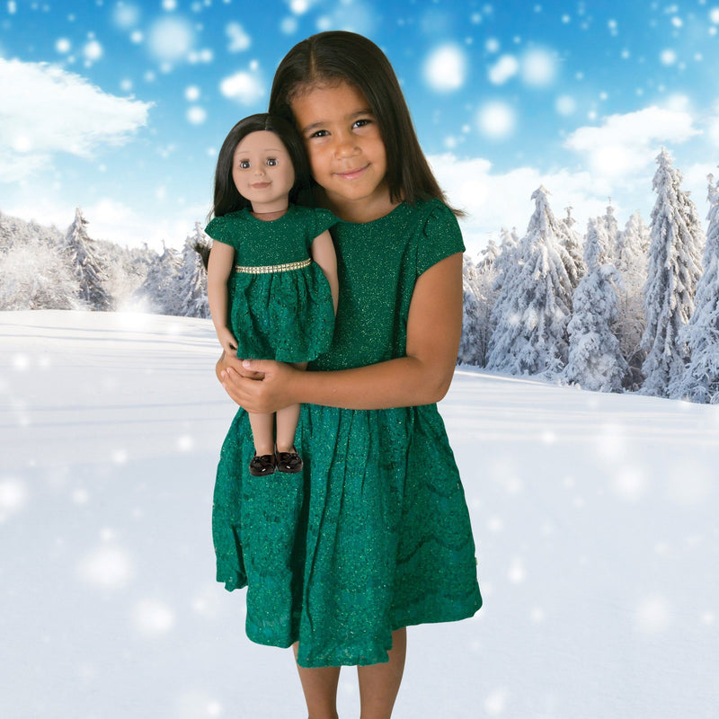 Matching sparkly emerald green party dress with gold gemstone waistband for 18 inch dolls and girls.