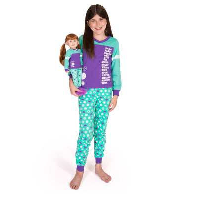 Dream Team sporty matching girl-sized sports-themed teal and purple PJs in varying sizes for girls