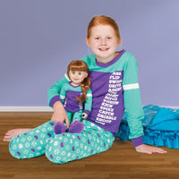 Dream Team sporty matching girl-sized sports-themed teal and purple PJs in varying sizes for girls.