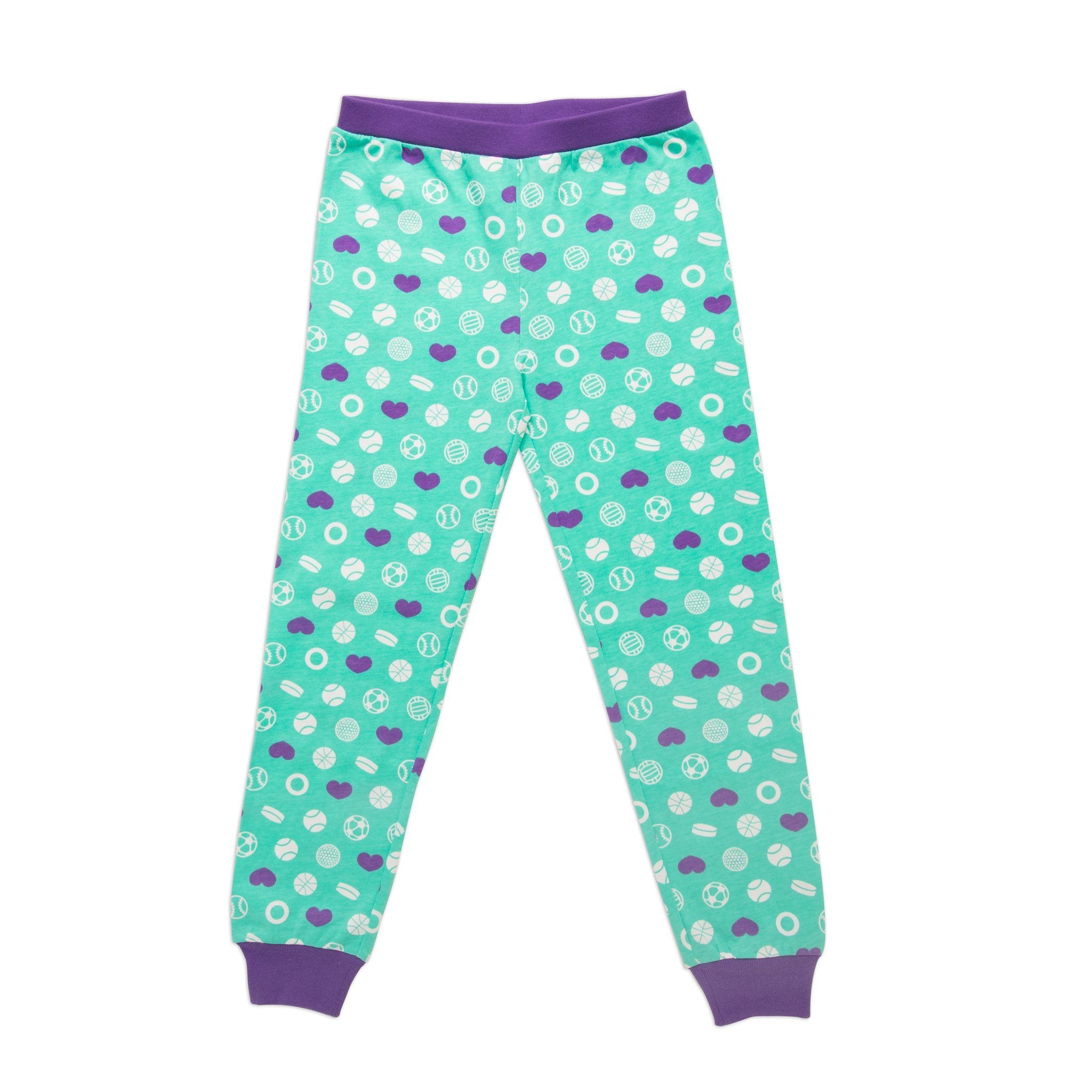 Dream Team sporty matching girl-sized sports-themed teal and purple patterned PJ pants in varying sizes for girls.