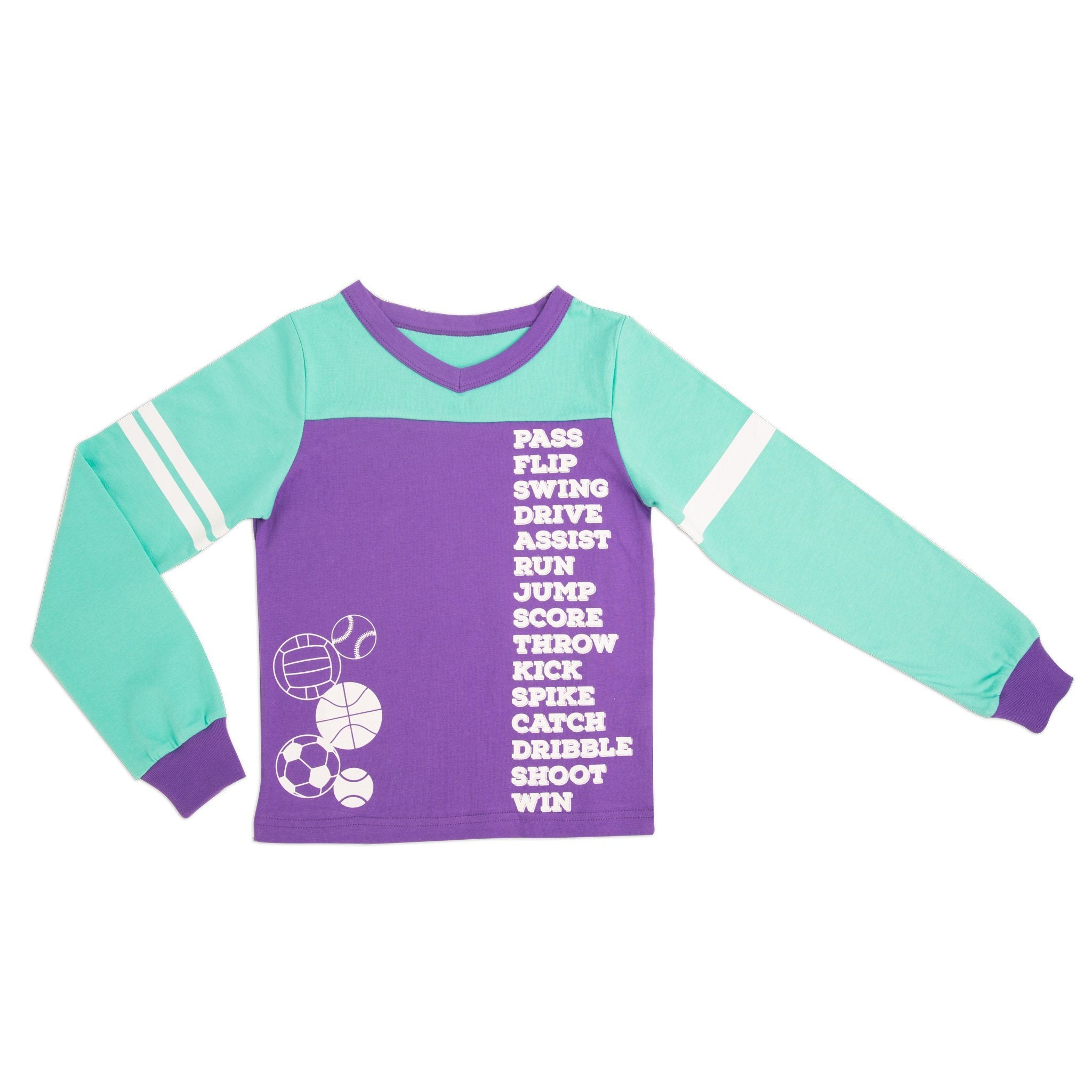 Dream Team sporty matching girl-sized sports-themed teal and purple PJ top in varying sizes for girls.