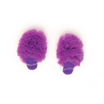 Dream Team purple fuzzy slippers fits all 18 inch dolls.