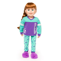 Dream Team sports-themed purple and teal PJs with purple fuzzy slippers fits all 18 inch dolls.