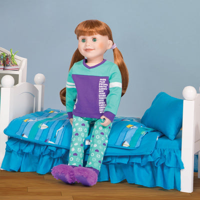 Dream Team sports-themed purple and teal PJs with purple fuzzy slippers fits all 18 inch dolls. Shown on KJ1 Jenna doll with KM1 Doll Bed and KM18 Ocean Waves bedding.