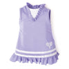 Purple and silver tennis dress with racquet design fits all 18 inch dolls.