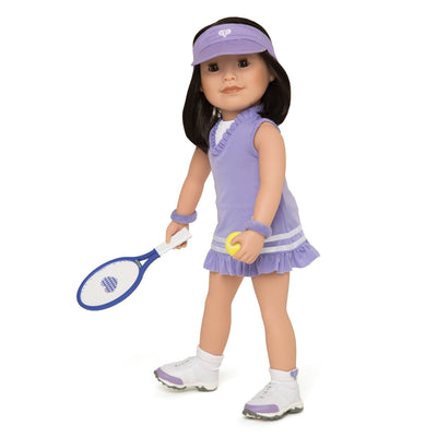 18 inch doll wearing tennis dress, visor, socks, undies, tennis shoes with racquet and ball.
