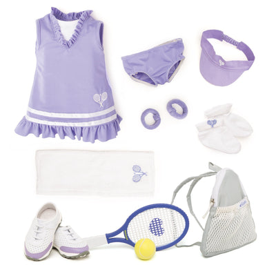Tennis set for dolls: dress, undies, visor, wrist bands, socks, shoes, bag, tennis raquet and ball.