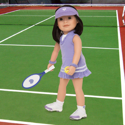 "Tennis dress, visor, undies, socks and tennis shoes worn by 18"" doll with tennis racquet and ball"