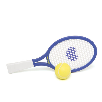 Purple tennis racquet with heart design and tennis ball suitable for all 18 inch dolls.