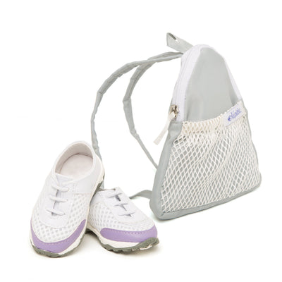 Endless Tennis purple and white tennis shoes and silver carry bag fits all 18 inch dolls.