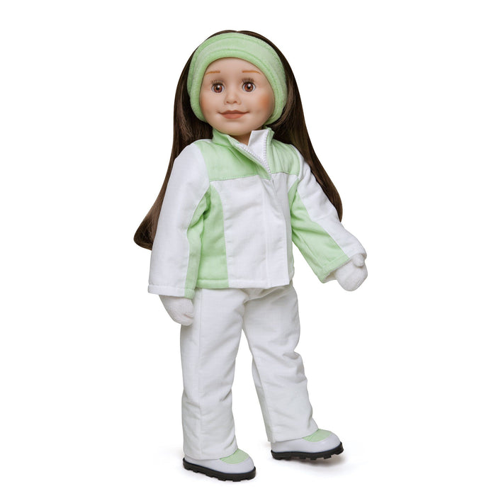 Extreme Green light green and white snowsuit, green velour headband, white fuzzy mittens, snow pants, jacket and winter boots fits all 18 inch dolls. Shown on KT1 Taryn doll.