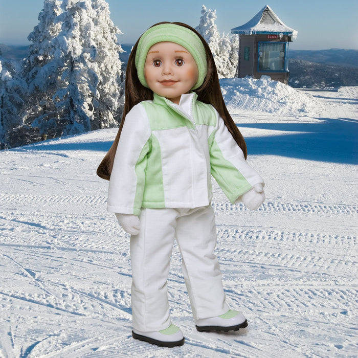 Extreme Green light green and white snowsuit, green velour headband, white fuzzy mittens, snow pants, jacket and winter boots fits all 18 inch dolls. Shown on KT1 Taryn doll in winter scene.