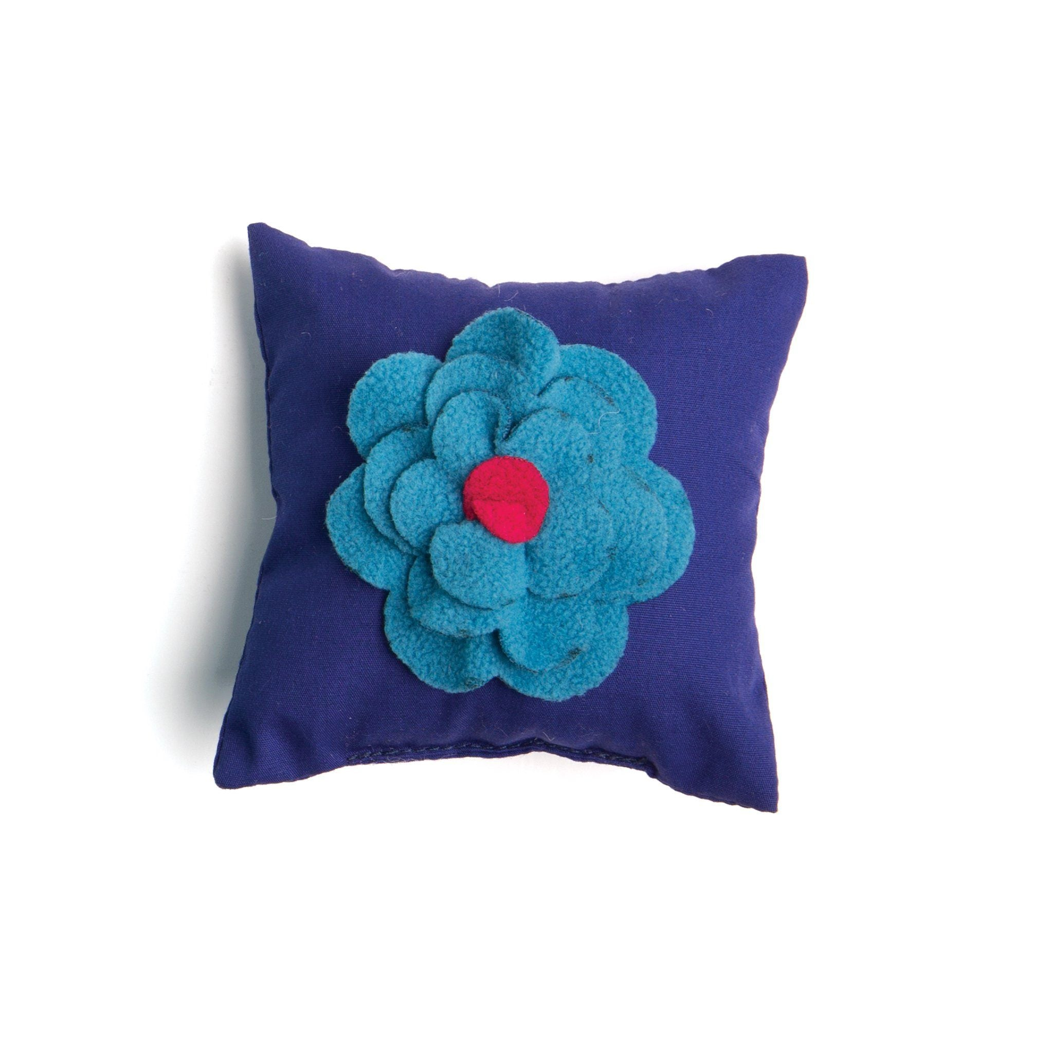 Field of flowers purple throw pillow with 3D felt flower for all 18 inch dolls.