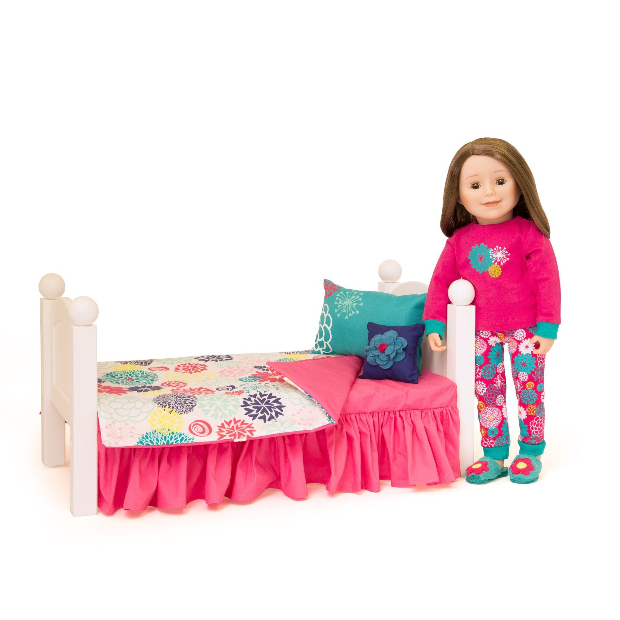 "Comforter, covered mattress with dust ruffle and two pillows shown with 18"" doll and bed."