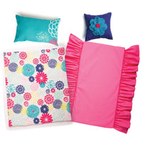 "Floral bedding with fuchsia mattress, reversible comforter, teal pillow and purple throw pillow for 18"" dolls"