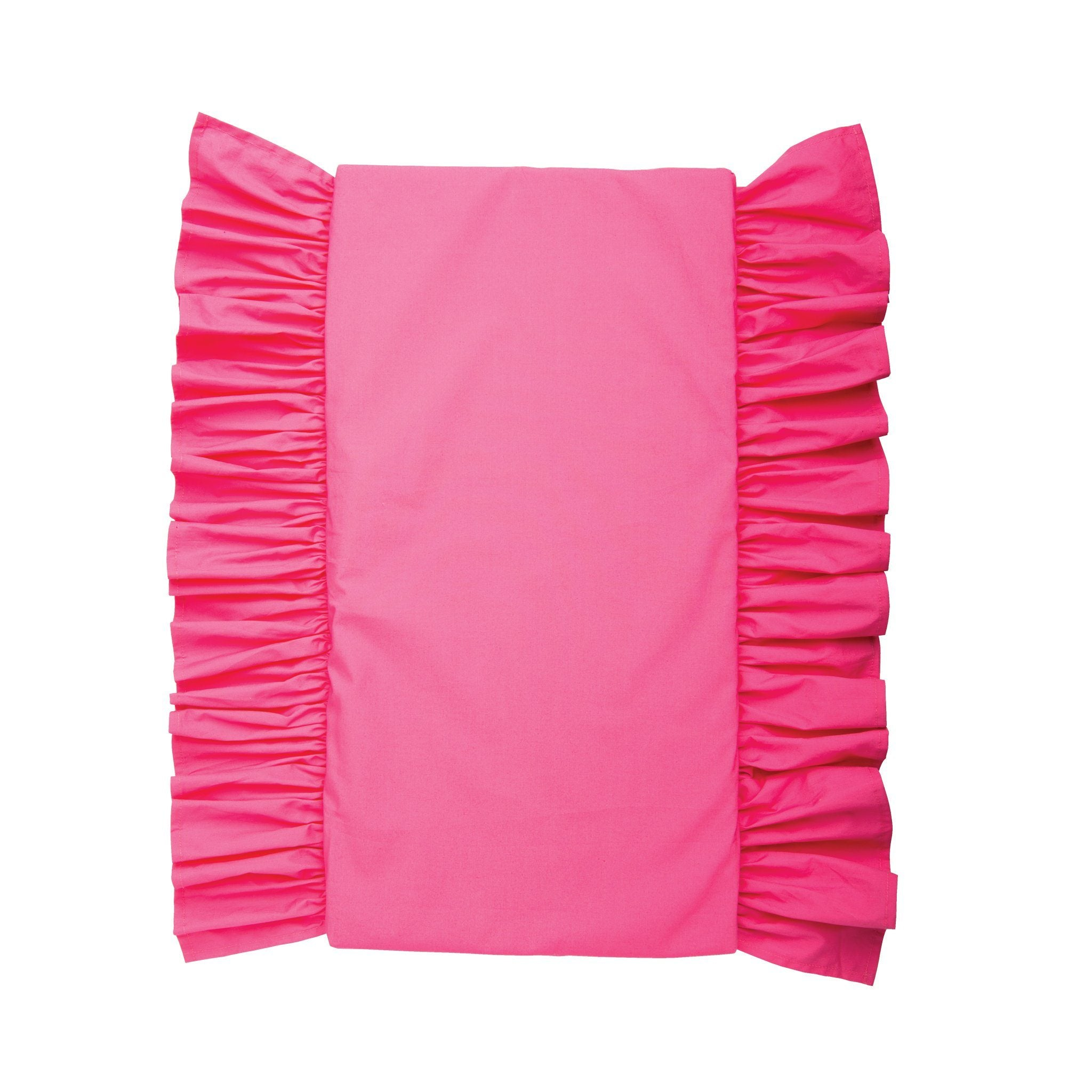 Field of flowers fuchsia covered mattress with ruffle for all 18 inch dolls.