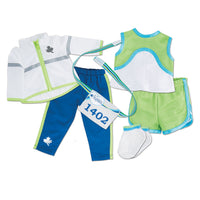 Flash Dash 6-piece running gear set with blue splash pants, white windbreaker with reflective taping, green sleeveless top and running shorts with white athletic socks. Fits all 18 inch dolls.