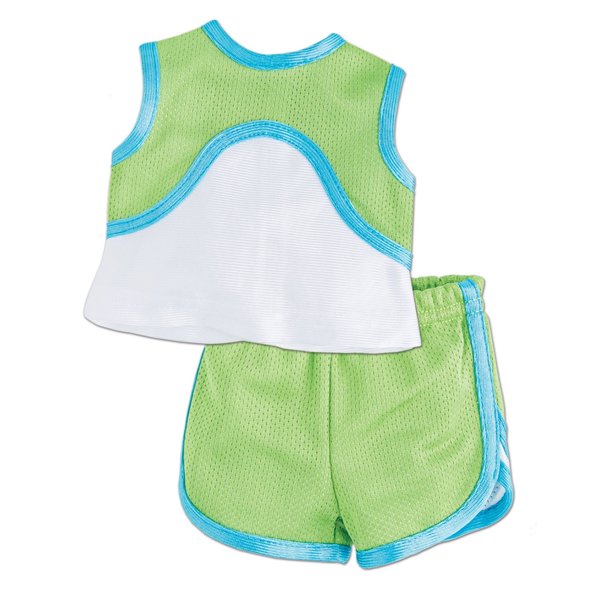 Flash Dash 6-piece running gear set green sleeveless top and running shorts with blue accent fit all 18 inch dolls.