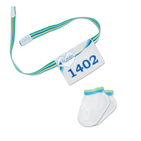 Flash Dash 6-piece running gear white athletic socks and running number bib. Fits all 18 inch dolls.