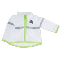 Flash Dash 6-piece running gear set white windbreaker with reflective taping fits all 18 inch dolls.