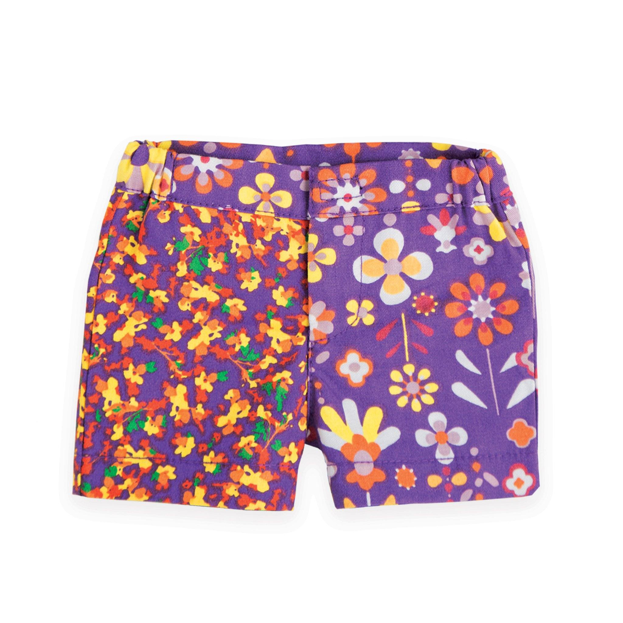 Flower Power purple multicolour floral shorts  fits all 18 inch dolls.