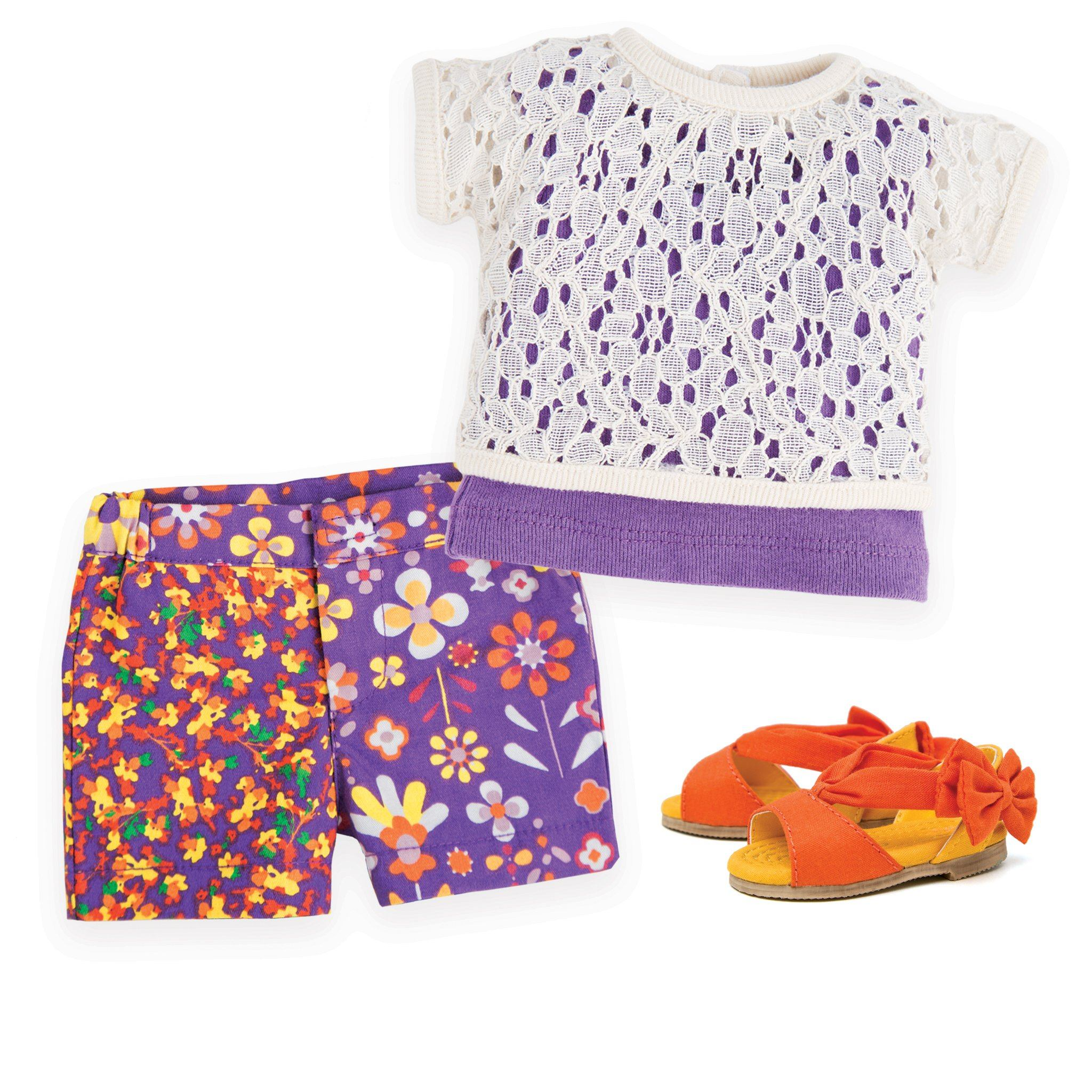 Multi-colour floral shorts, white lace two layer top and orange bow sandals fits all 18 inch dolls.