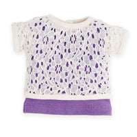 Flower Power white lace shirt with attached purple tank top fits all 18 inch dolls.