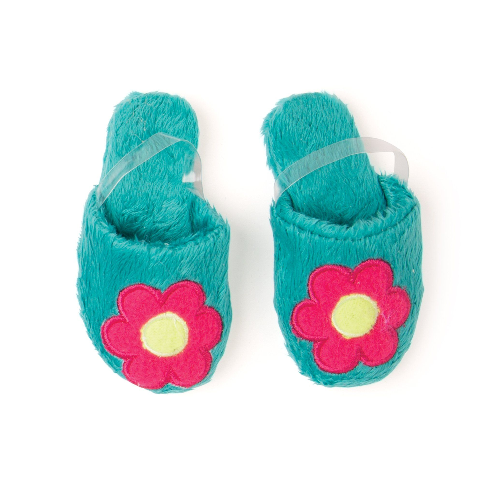 Fuzzy teal slippers for 18 inch doll.